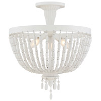 Geneva 3 Light 16 inch Porcellan Semi-Flush Mount Ceiling Light