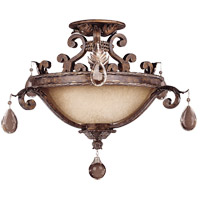 Chastain 3 Light 21 inch New Tortoise Shell/Silver Semi-Flush Ceiling Light in Cream Scavo