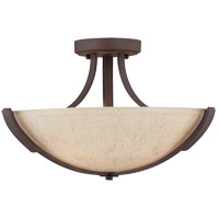 Berkley 3 Light 17 inch Heritage Bronze Semi-Flush Ceiling Light in Hand Painted Cream