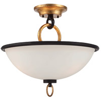 Parkdale 3 Light 16 inch Matte Black/Gold Semi-Flush Ceiling Light in White