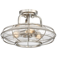Connell 3 Light 16 inch Satin Nickel Semi-Flush Ceiling Light