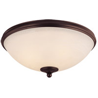 Willoughby 3 Light 15 inch English Bronze Flush Mount Ceiling Light in Cream Marble