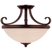 Willoughby 2 Light 15 inch English Bronze Semi-Flush Ceiling Light in Cream Marble