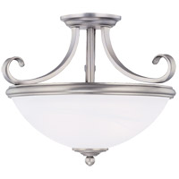 Willoughby 2 Light 15 inch Pewter Semi-Flush Ceiling Light in White Marble