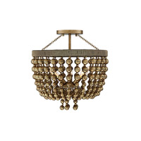 Cranford 3 Light 16 inch Vintage Brass Semi-Flush Mount Ceiling Light