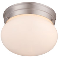 Signature 1 Light 8 inch Satin Nickel Flush Mount Ceiling Light in White