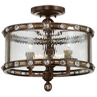 Paragon 3 Light 17 inch Gilded Bronze Semi-Flush Ceiling Light in Clear Water