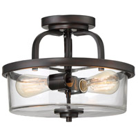 Tulsa 2 Light 13 inch English Bronze Semi-Flush Ceiling Light