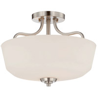 Charlton 2 Light 15 inch Satin Nickel Semi-Flush Ceiling Light