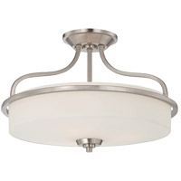 Charlton 3 Light 17 inch Satin Nickel Semi-Flush Mount Ceiling Light