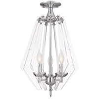 Savoy House Newell 3 Light Semi Flush Mount in Chrome 6-671-3-11