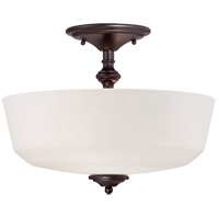 Melrose 2 Light 14 inch English Bronze Semi-Flush Ceiling Light in White Opal Etched