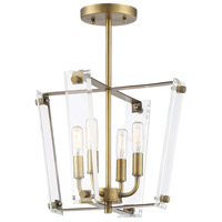 Savoy House 6-7110-4-322 Everett 4 Light 13 inch Warm Brass Semi-Flush Ceiling Light