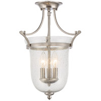 Trudy 3 Light 12 inch Satin Nickel Semi-Flush Mount Ceiling Light