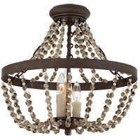 Mallory 3 Light 18 inch Fossil Stone Semi-Flush Ceiling Light, Convertible