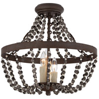 Mallory 3 Light 18 inch Fossil Stone Semi-Flush Mount Ceiling Light, Convertible