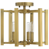 Savoy House 6 7702 3 322 Benson 3 Light 13 Inch Warm Brass Semi Flush Ceiling Light