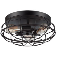 Scout 3 Light 15 inch English Bronze Flush Mount Ceiling Light