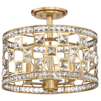 Clarion 3 Light 16 inch Gold Bullion Semi-Flush Ceiling Light
