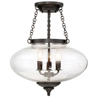 Lowry 3 Light 16 inch English Bronze Semi-Flush Mount Ceiling Light
