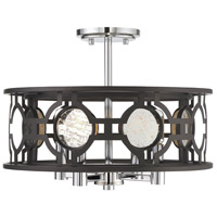 Chennal 4 Light 17 inch Bronze and Chrome with Antique Mirror Accents Semi-Flush Mount Ceiling Light, Convertible