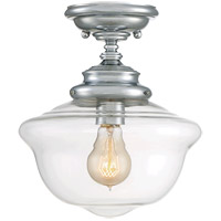 School House 1 Light 10 inch Polished Chrome Semi-Flush Ceiling Light in Clear
