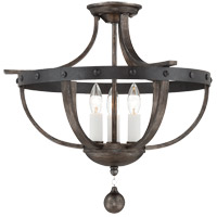 Alsace 3 Light 20 inch Reclaimed Wood Semi-Flush Mount Ceiling Light