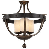 Alsace 3 Light 23 inch Reclaimed Wood Semi-Flush Ceiling Light