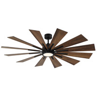 Savoy House 60-760-12AO-89 Farmhouse 60 inch Matte Black with Antique Oak Blades Indoor/Outdoor Ceiling Fan
