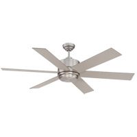 Velocity 60 inch Satin Nickel with Silver Blades Outdoor Ceiling Fan