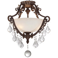 Elizabeth 3 Light 22 inch New Tortoise Shell/Silver Semi-Flush Ceiling Light in White Etched