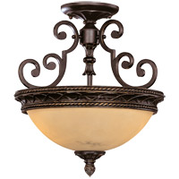 Knight 2 Light 15 inch Antique Copper Semi-Flush Ceiling Light