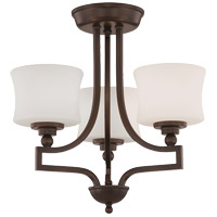 Terrell 3 Light 18 inch English Bronze Semi-Flush Ceiling Light