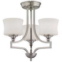 Terrell 3 Light 18 inch Satin Nickel Semi-Flush Ceiling Light