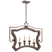 Savoy House Berwick 4 Light Pendant in Dark Wood and Guilded Bronze 7-1331-4-327
