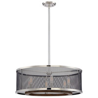 Valcour 6 Light 24 inch Polished Nickel/Graphite/Wood Accents Pendant Ceiling Light