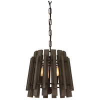 Glades 3 Light 14 inch Weathered Wood Pendant Ceiling Light