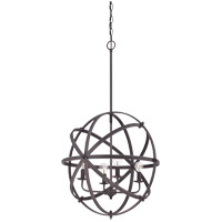 Dias 4 Light 20 inch English Bronze Orb Pendant Ceiling Light