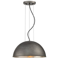 Sommerton 1 Light 16 inch Rubbed Zinc with Silver Leaf Pendant Ceiling Light in Wrought Iron Black