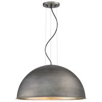 Sommerton 3 Light 24 inch Rubbed Zinc with Silver Leaf Pendant Ceiling Light in Wrought Iron Black