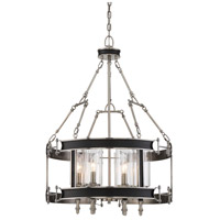 Gramercy 6 Light 24 inch Polished Pewter with Black Leatherette Pendant Ceiling Light