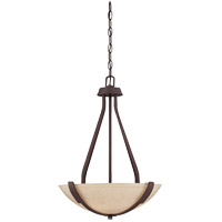 Berkley 3 Light 17 inch Heritage Bronze Pendant Ceiling Light in Hand Painted Cream