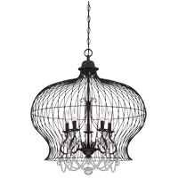 Savoy House 7-6100-6-17 Birdcage 6 Light 30 inch Forged Black Pendant Ceiling Light photo thumbnail