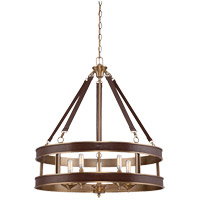 Harrington 5 Light 26 inch Harness Leather with Rubbed Brass Pendant Ceiling Light