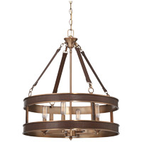 Harrington 4 Light 22 inch Harness Leather with Rubbed Brass Pendant Ceiling Light