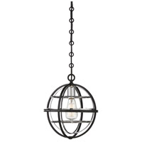 Savoy House 7-9178-1-67 Vega 1 Light 11 inch Matte Black with Polished Chrome Accents Pendant Ceiling Light