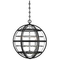 Savoy House 7-9179-3-67 Vega 3 Light 18 inch Matte Black with Polished Chrome Accents Pendant Ceiling Light