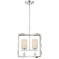 Lancaster 2 Light 5 inch Polished Chrome Pendant Ceiling Light in White Opal
