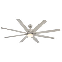 Bluffton 72 inch Satin Nickel with Silver Blades Outdoor Ceiling Fan