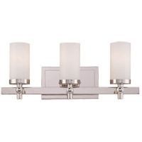 Manhattan 3 Light 19 inch Polished Nickel Bath Bar Wall Light in White Opal Etched